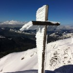 At the top of Stoos, Switzerland, after some cold weather at our nearest training hill