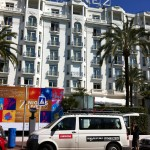 Team van in front of the infamous Martinez hotel in Cannes, where many filmstars stay every year