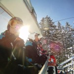 On the lift at Mellau, Austria, Me and Wilbur